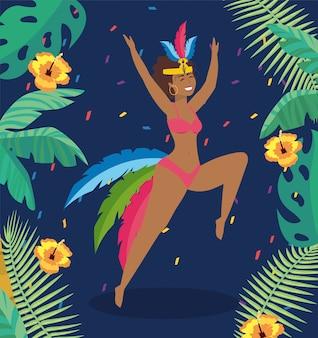 Ballerino ragazza carina con foglie di fiori e rami