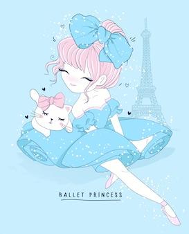 Ballo di balletto sveglio disegnato a mano della ragazza con la scena di parigi