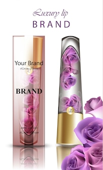 Balsamo per le labbra con cosmetici ai fiori di rosa