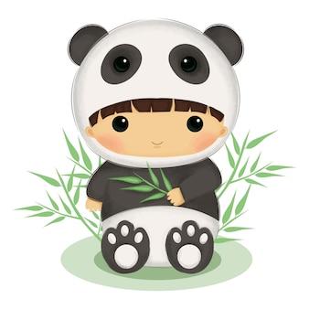 Bambina adorabile con l'illustrazione del costume del panda per la decorazione della scuola materna