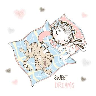 Bambina carina dorme nella sua culla con un coniglietto giocattolo e un gatto domestico.