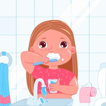 Bambina carina lavarsi i denti al mattino. routine quotidiana. igiene dentale.