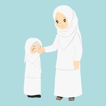 Bambina che bacia la mano di sua madre, vettore di carattere
