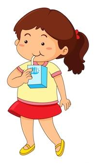 Bambina che beve latte