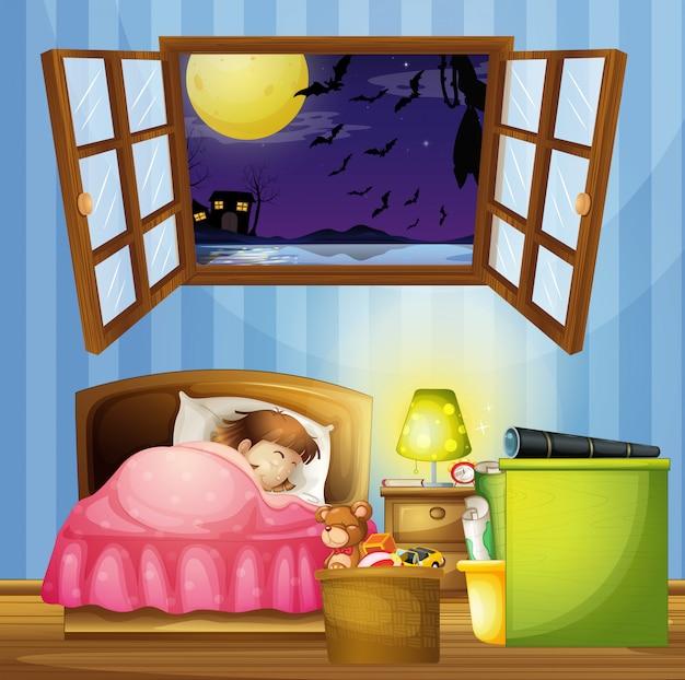 Bambina che dorme in camera da letto