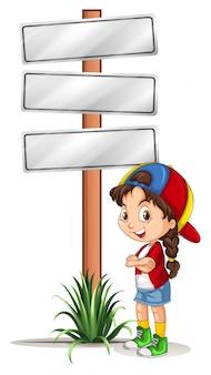 Bambina che fa una pausa i segnali stradali