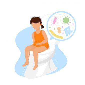 Bambina che si siede sulla tazza della toilette