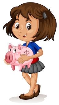Bambina che tiene un porcellino salvadanaio