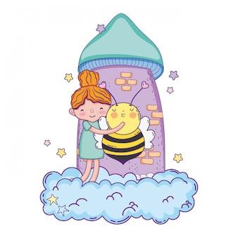 Bambina con carattere di ape kawaii