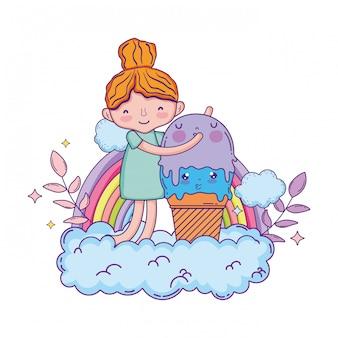 Bambina con carattere kawaii gelato