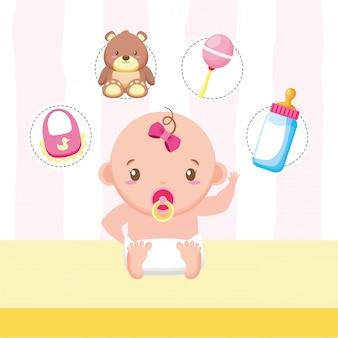 Bambina con giocattoli e accessori