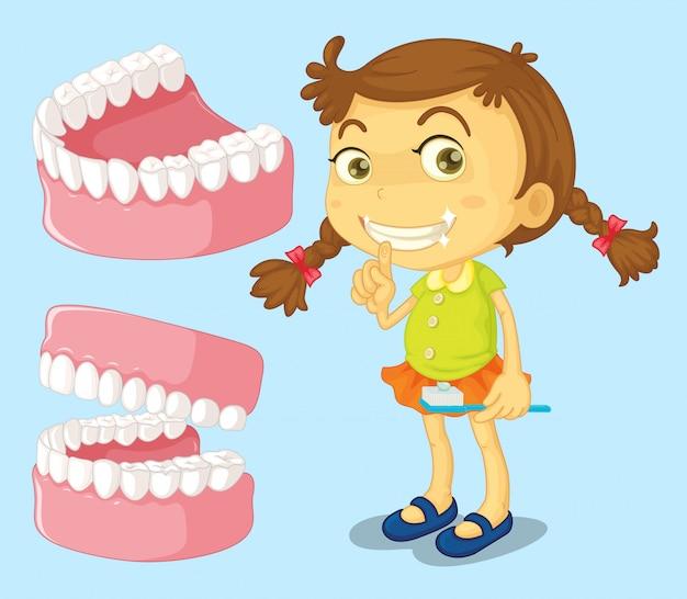 Bambina con i denti puliti