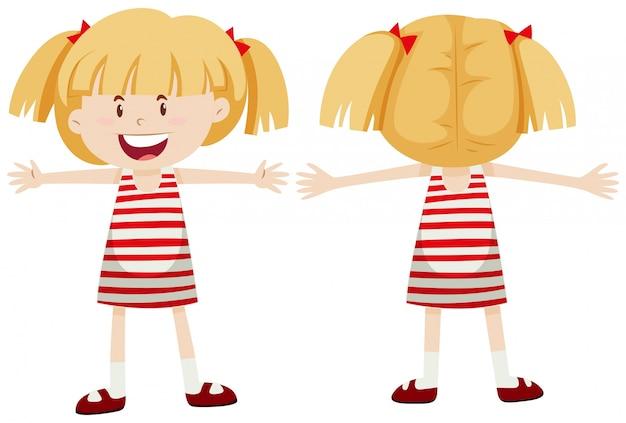 Bambina con vista frontale e posteriore