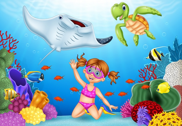 Bambina del fumetto che si tuffa mare tropicale subacqueo