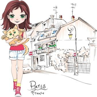 Bambina di vettore a parigi