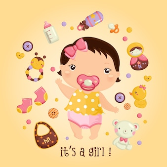 Bambina e i suoi giocattoli