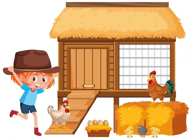 Bambina e polli in azienda