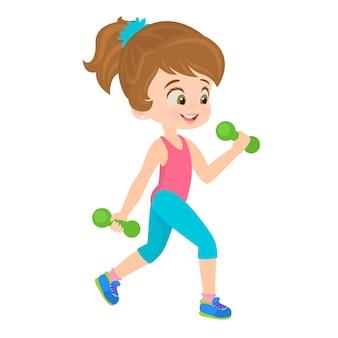 Bambina facendo esercizi