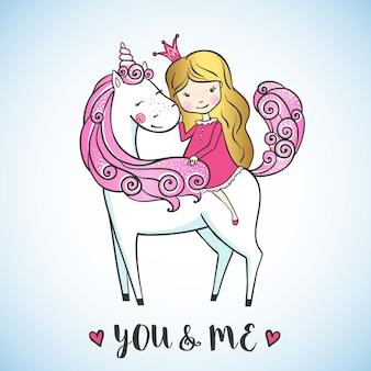 Bambina su un unicorno carino.