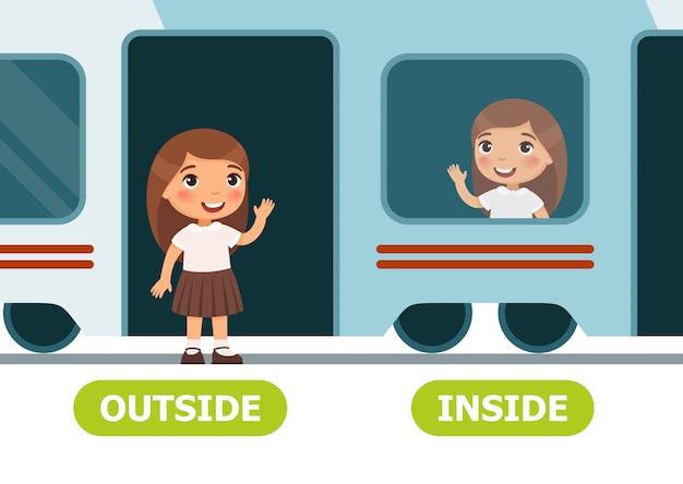 Bambina sul treno e fuori