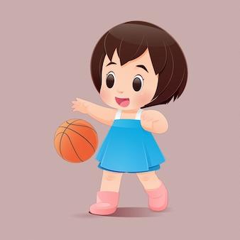 Bambina sveglia che gioca a pallacanestro in un fondo rosa, una ragazza in un vestito blu che rimbalza una pallacanestro, illustrazione piana del personaggio.