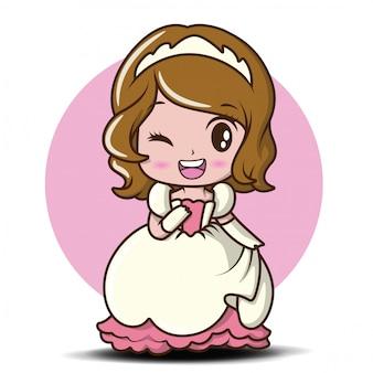 Bambina sveglia che indossa una principessa., fumetto arioso.
