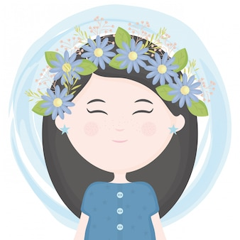 Bambina sveglia con corona floreale nel carattere dei capelli