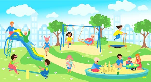 Bambini al campo da giuoco nel parco della città, gioco felice dei bambini all'aperto, illustrazione