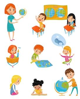 Bambini al set di lezioni di geografia, attività in età prescolare e concetto di educazione della prima infanzia illustrazioni su uno sfondo bianco