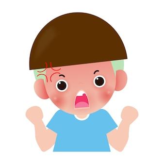 Bambini arrabbiati, personaggio dei cartoni animati del bambino isolato sull'illustrazione bianca.