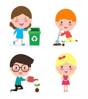 Bambini carini volontari. i bambini raccolgono la spazzatura per il riciclaggio. un bambino pianta alberi.
