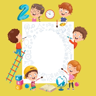 Bambini cartone animato con una cornice