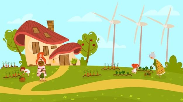 Bambini che aiutano madre all'orto, illustrazione della gente