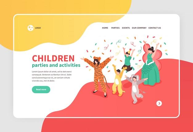 Bambini che ballano alla festa in costume con l'insegna isometrica 3d dell'animatore