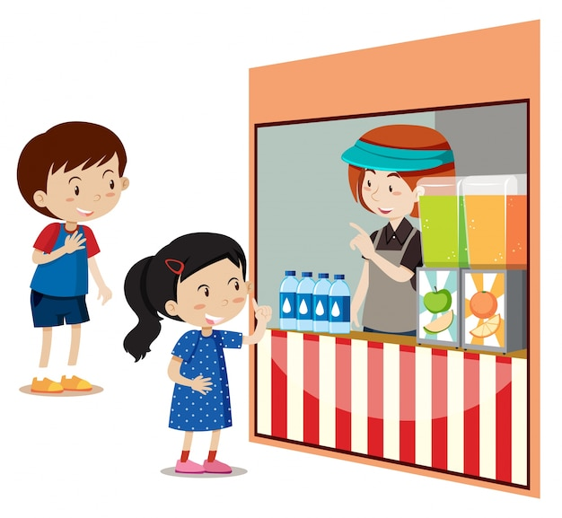 Bambini che comprano bevande al negozio
