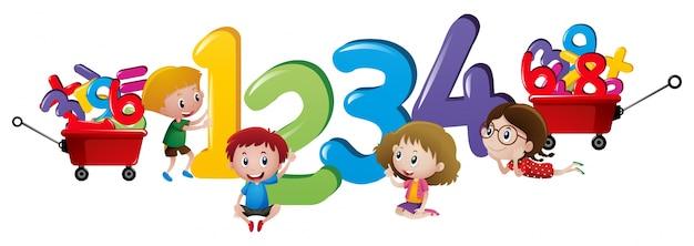 Bambini che contano numeri da uno a quattro