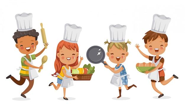 Bambini che cucinano insieme ragazzi e ragazze che preparano l'attrezzatura di cottura