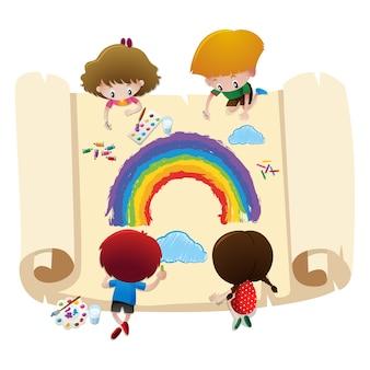 Bambini che dissipano disegno