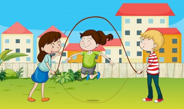 Bambini che giocano a corda