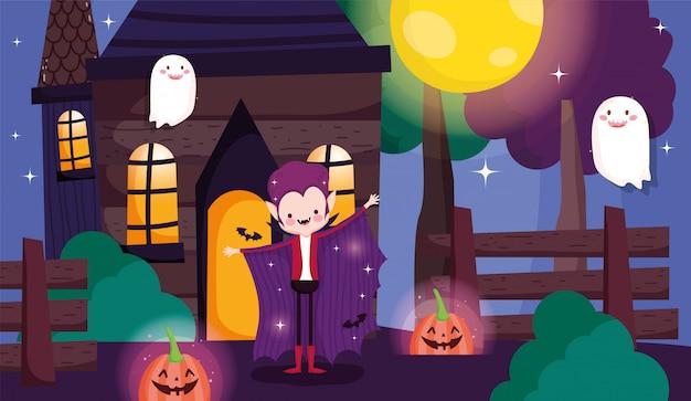 Bambini che giocano a dolcetto o scherzetto a halloween