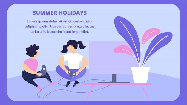 Bambini che giocano a playstation seduti sul pavimento di fronte alla tv. vacanze estive