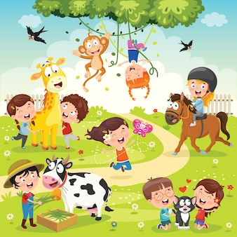 Bambini che giocano con animali divertenti