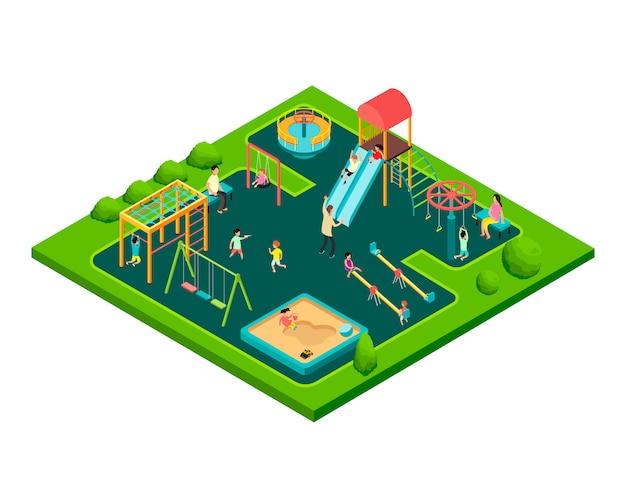 Bambini che giocano con i genitori nel parco giochi per bambini con attrezzature da gioco. vettore di cartone animato isometrico con piccola gente 3d