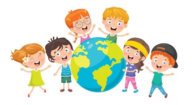 Bambini che giocano con il globo