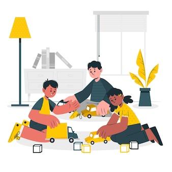 Bambini che giocano con l'illustrazione di concetto di giocattoli auto