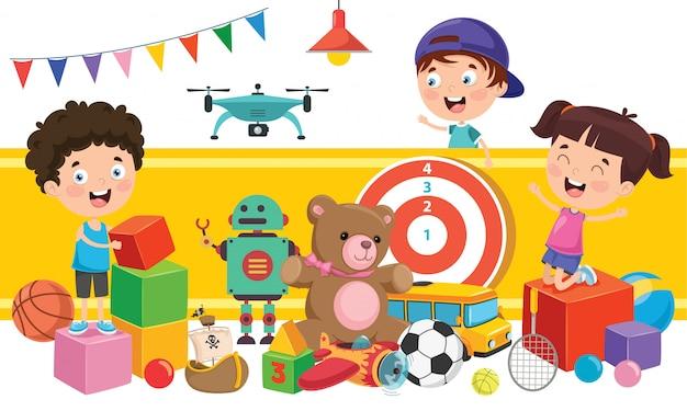 Bambini che giocano con vari giocattoli