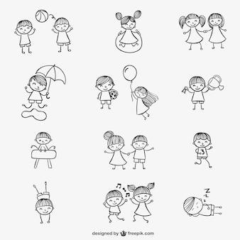 Bambini che giocano doodles