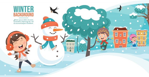 Bambini che giocano fuori in inverno
