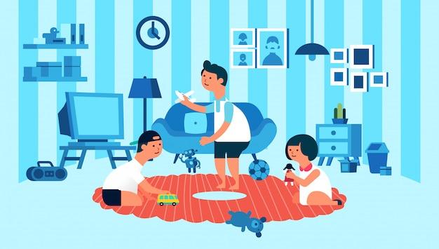 Bambini che giocano in camera con interno soggiorno con illustrazione di elettrodomestico -