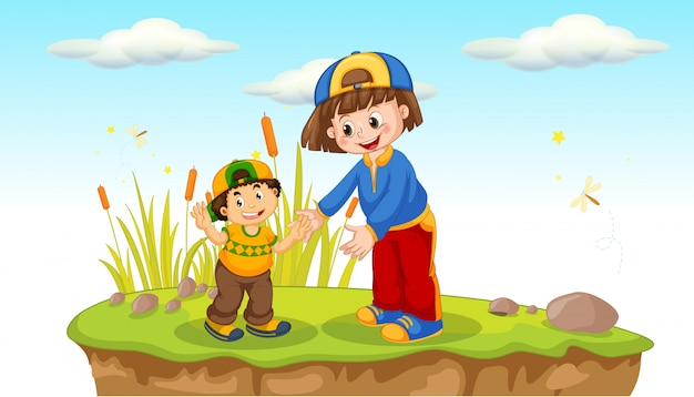Bambini che giocano in natura